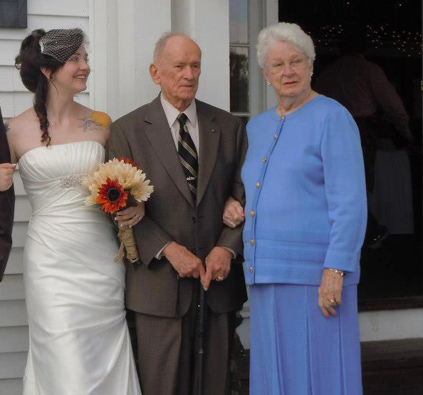My grandparents and me at my first wedding.